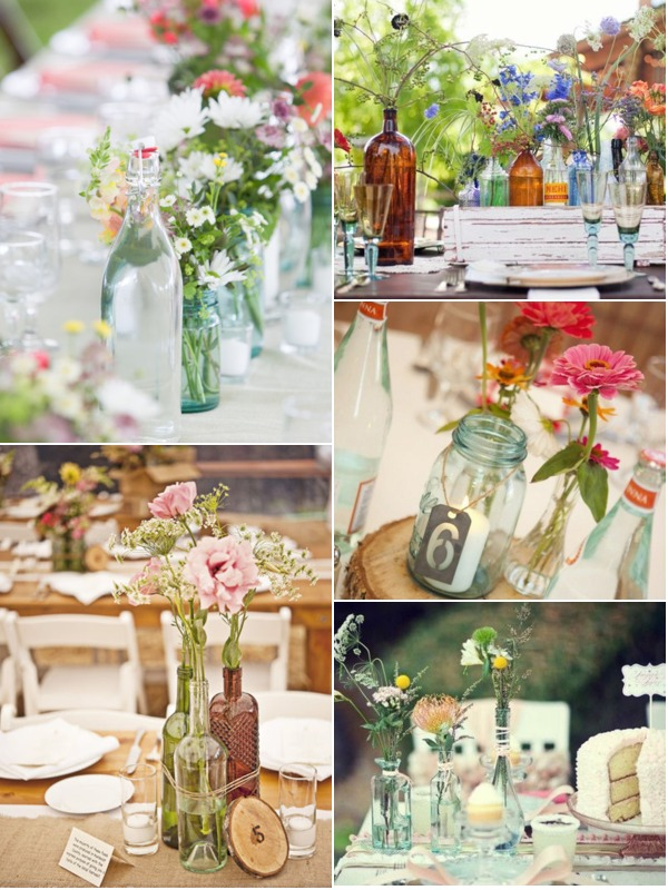 Vintage Glass Bottle Centerpieces Glitter Inc