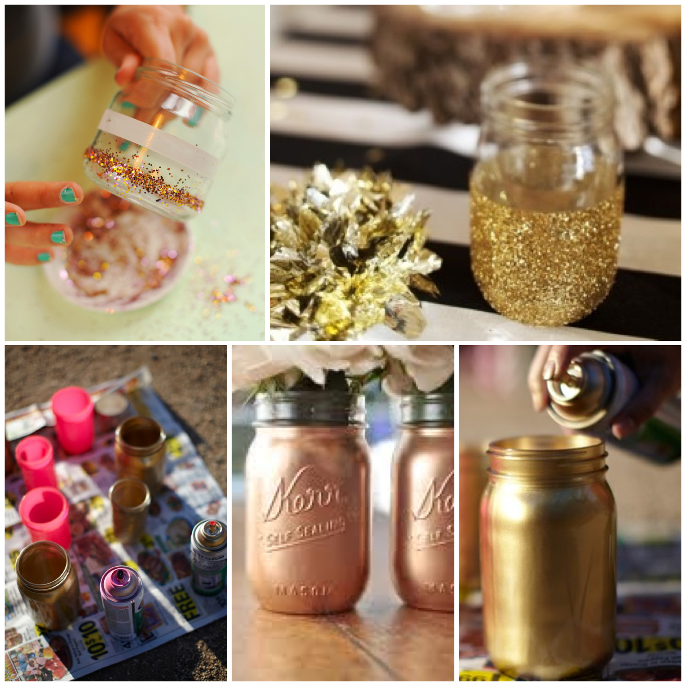 Diy gold mason jars glitter incitter inc junglespirit Image collections