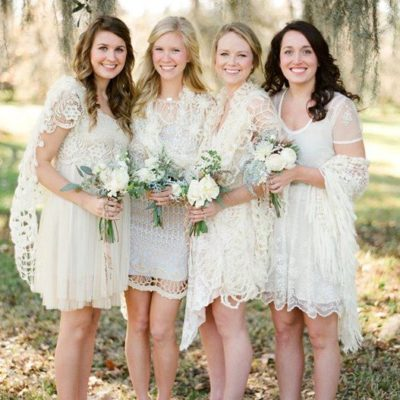 White Lace Bridesmaids Dresses