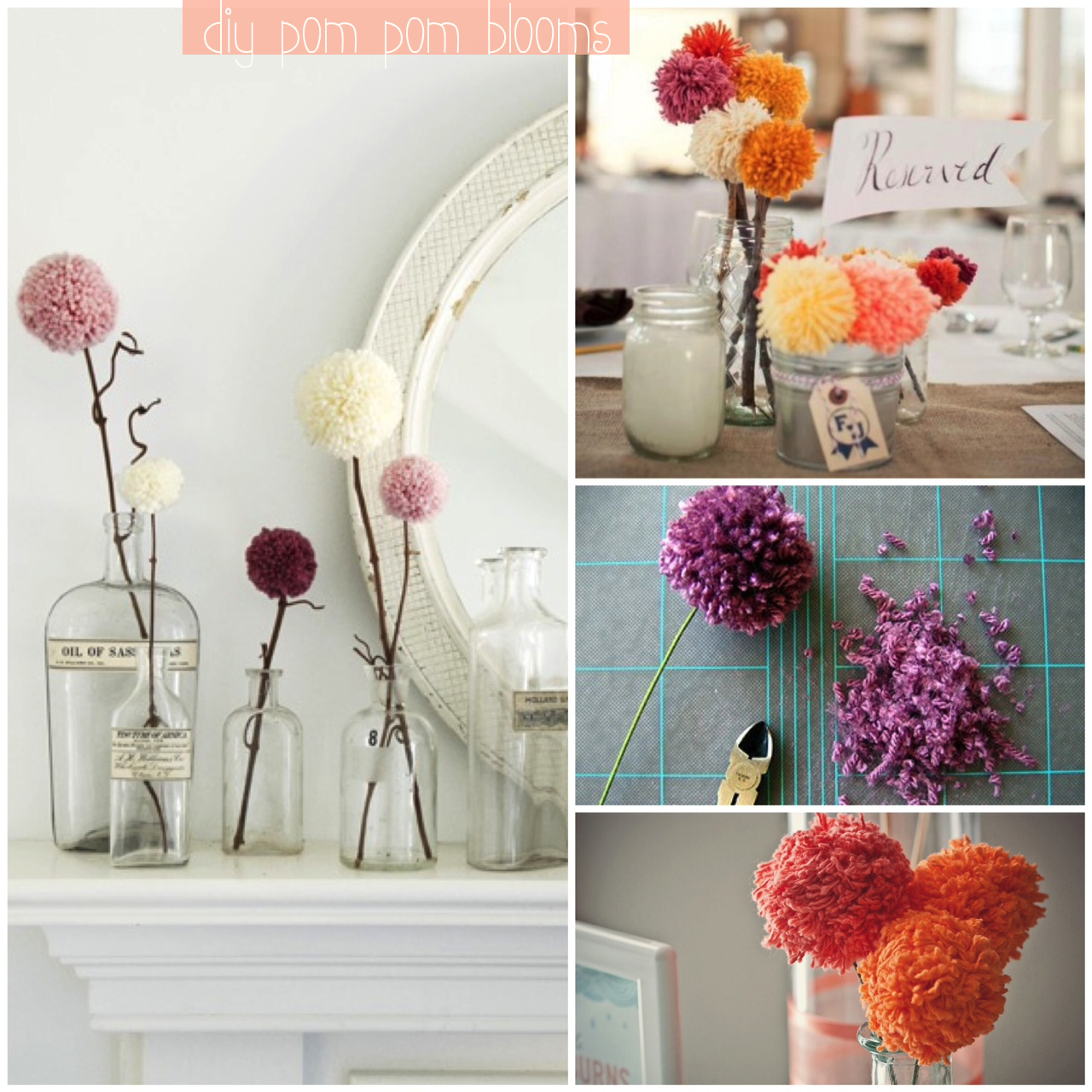 diy pom pom flowers glitter inc glitter inc. Black Bedroom Furniture Sets. Home Design Ideas