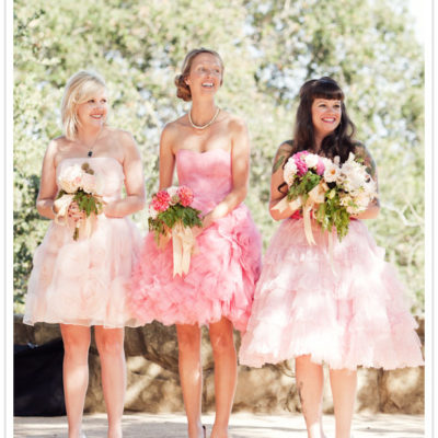 Bridesmaids in Pink Ruffles
