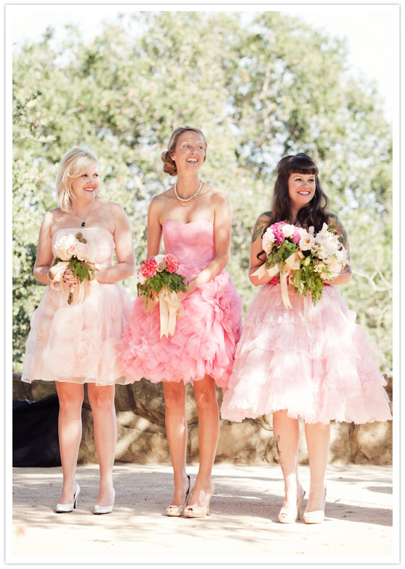 Bridesmaids in Pink Ruffles | Glitter, Inc.