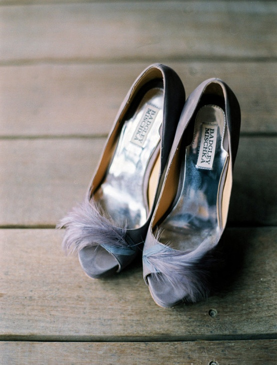 badgley mischka wedding shoes purple feather heels