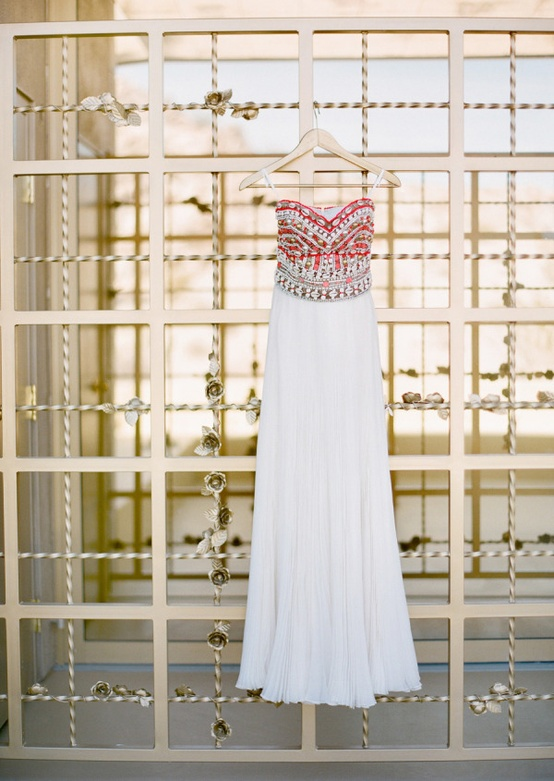 beaded red white wedding dress