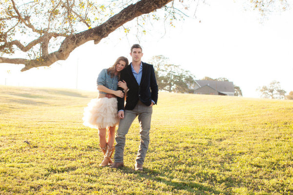 engagement chambray tulle tutu field cowboy boots