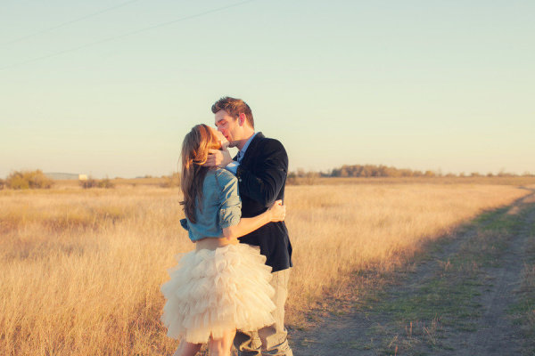 engagement chambray tulle tutu field kissing