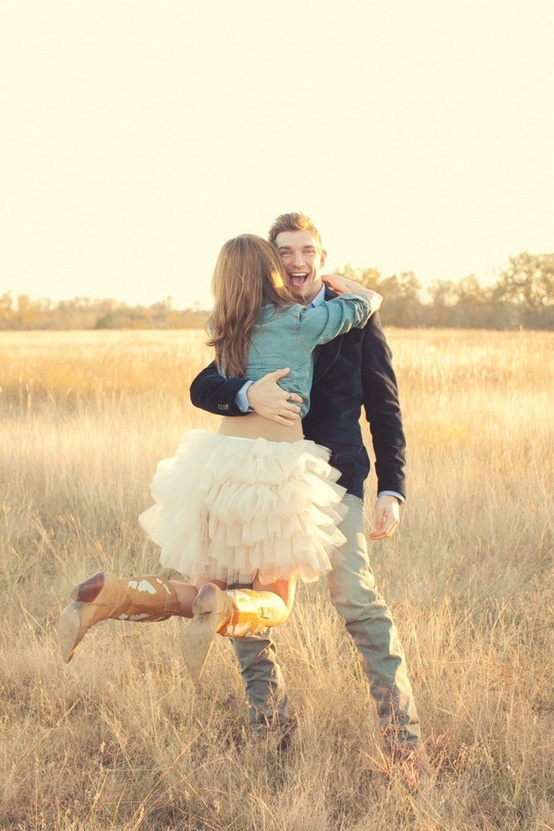 engagement shoot chambray shirt tulle tutu cowboy boots field