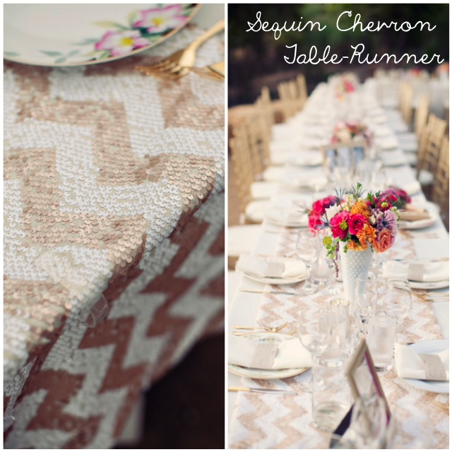 sequin chevron gold table runner tablescape setting _ glitterinc.com