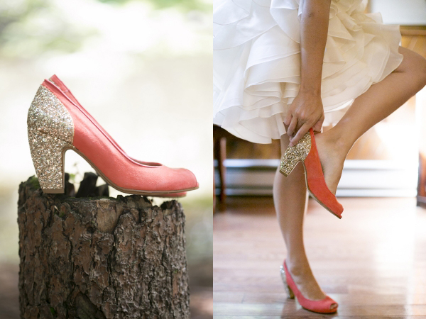short Ivy and Aster wedding dress woods salmon glitter shoes