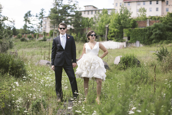 short Ivy and Aster wedding dress woods sunglasses