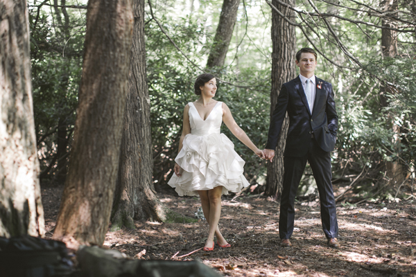 short Ivy and Aster wedding dress woods
