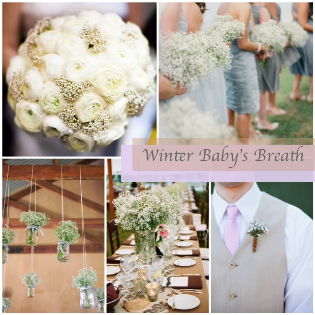 winter wedding baby's breath flowers _ glitterinc.com
