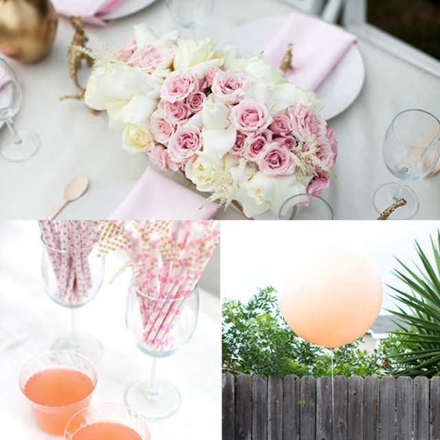 backyard pink gold glitter baby shower balloons fringe flowers