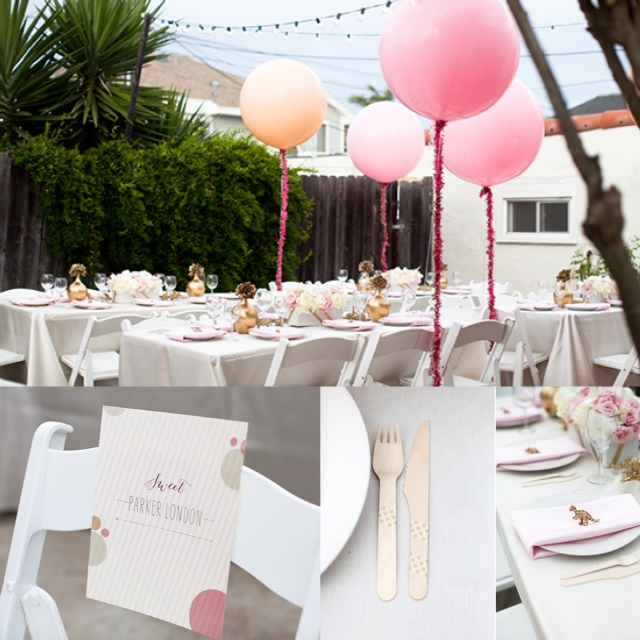 backyard pink gold glitter baby shower balloons fringe