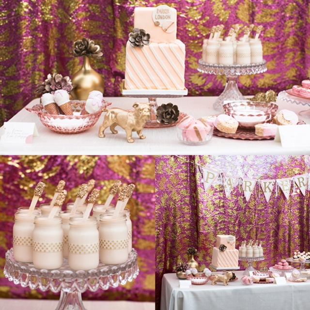 backyard pink gold glitter baby shower dessert bar milk cake sequin backdrop