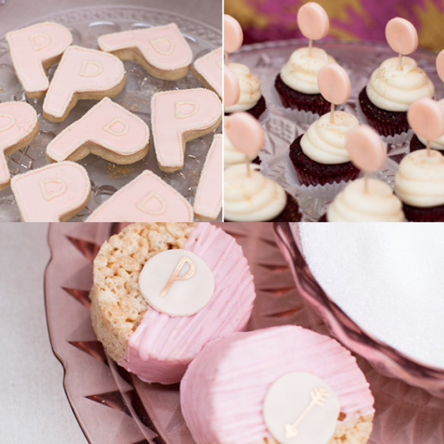 backyard pink gold glitter baby shower pink cookies rice krispie treats cupcakes