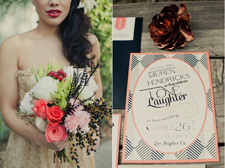 black gold sequin blush pink wedding invitation bouquet