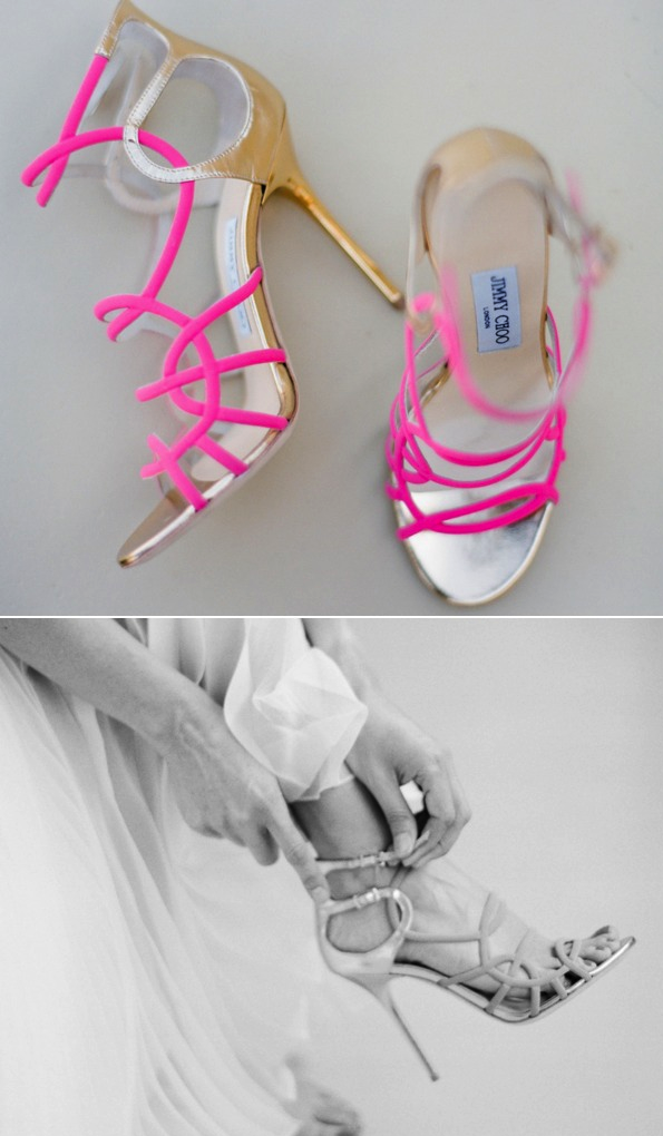 pink gold jummy choo neon wedding shoes