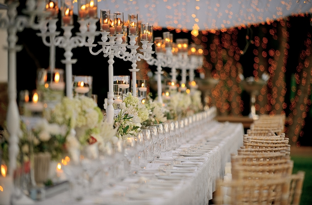rustic wedding white outdoor tablescape candelabras