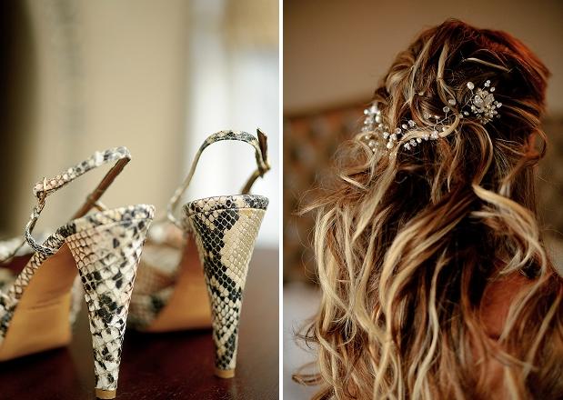 snakeskin wedding heels bride hair headpiece crown