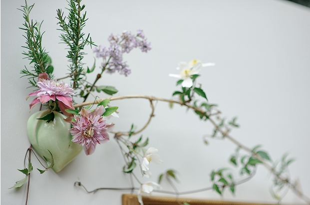 wedding cream wall florals flowers