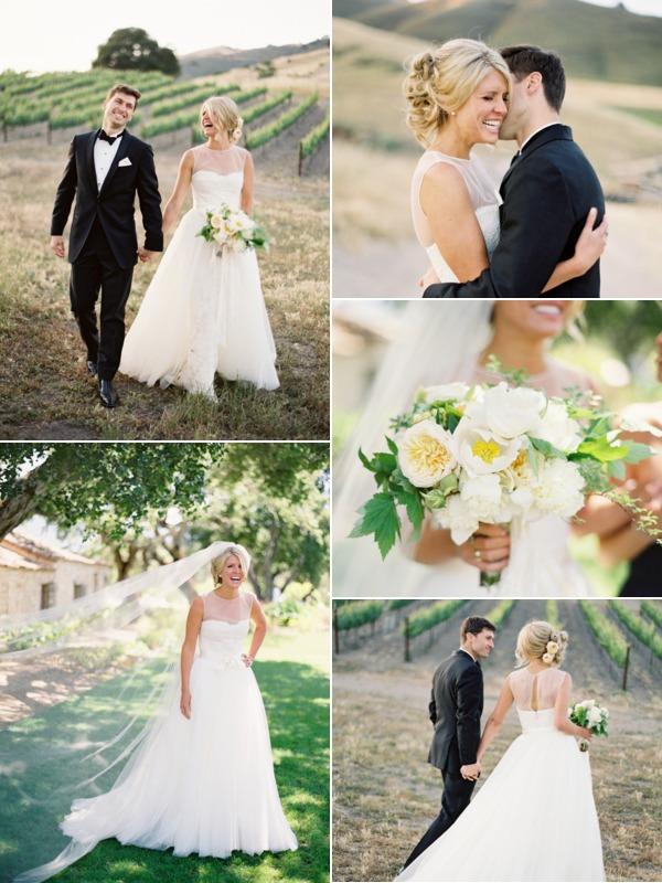 wedding dress Monique Lhuillier sheer top collage