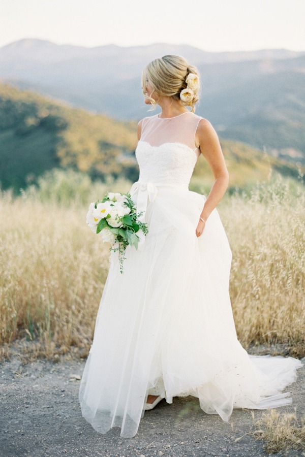 wedding dress Monique Lhuillier sheer top