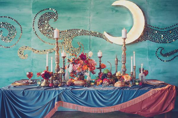 art-nouveau-engagement-moon bacdrop candles