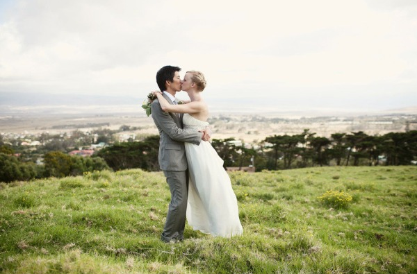 ethereal gauzy wedding dress couple