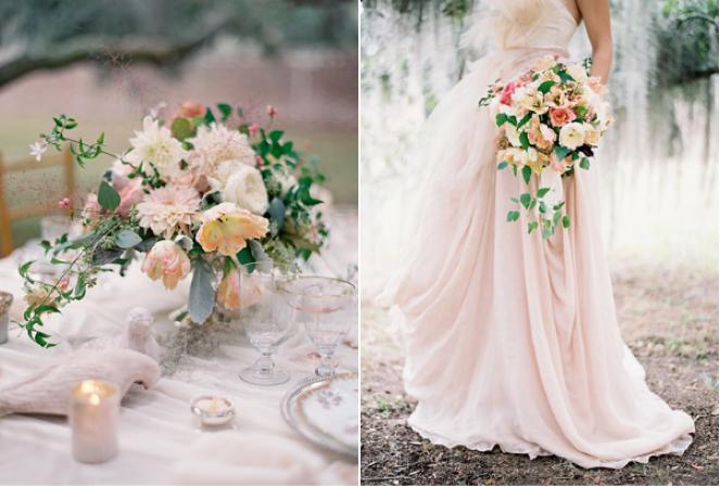pink beach bouquet wedding dress gown