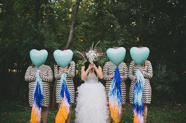 ruffled tulle wedding dress chevron bridesmaids dresses