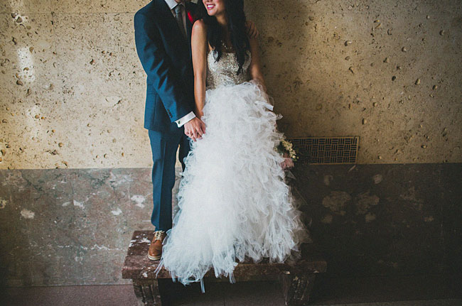 ruffled tulle wedding dress couple cute