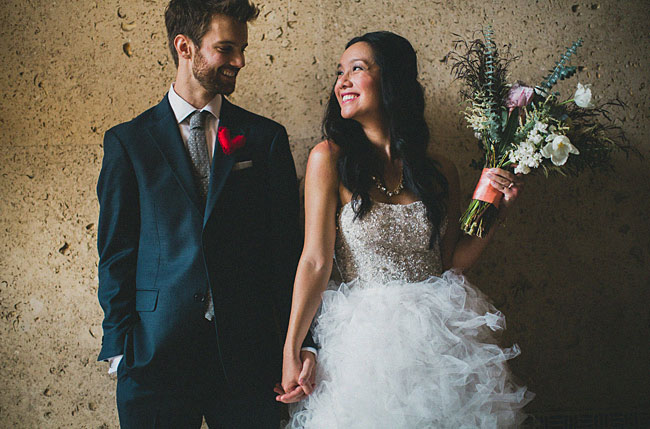 ruffled tulle wedding dress couple