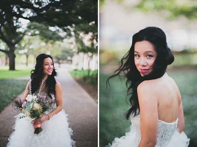ruffled tulle wedding dress flowers