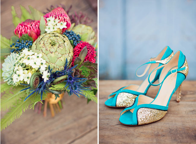 wedding shoes heels gold glitter turquoise teal bouquet