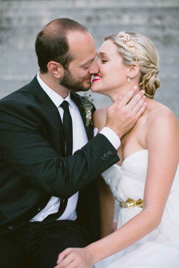 Ivy and Aster wedding dress Amalfi Coast kiss gold bow belt