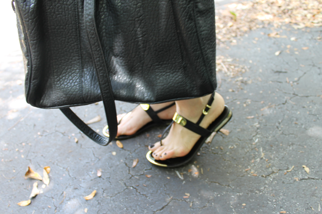 Lexi-TJMaxx-Style-Scout-black-and-white-purse-gold-metal-sandals-_-glitterinc.com