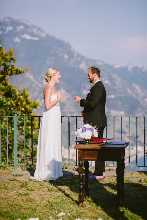 couple laughing bride ivy and aster wedding dress amalfi coast italy