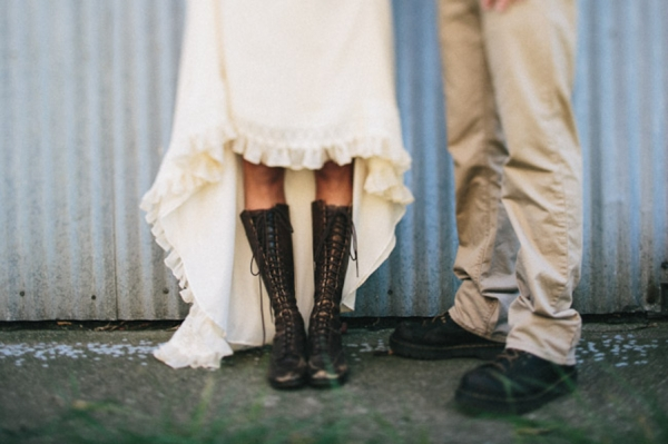 indie bride lace-up brown combat boots groom