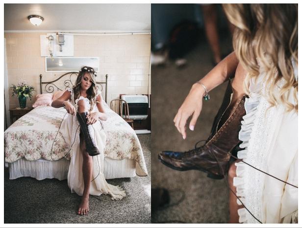 indie bride lace-up brown combat boots lace dress