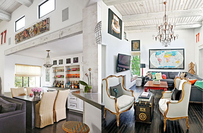 Luxe Artistic Cottage Glitter Inc: modern eclectic living room