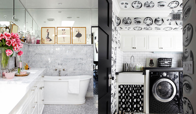modern-eclectic-cottage-marble-bathroom-tub-laundry-room-black-white