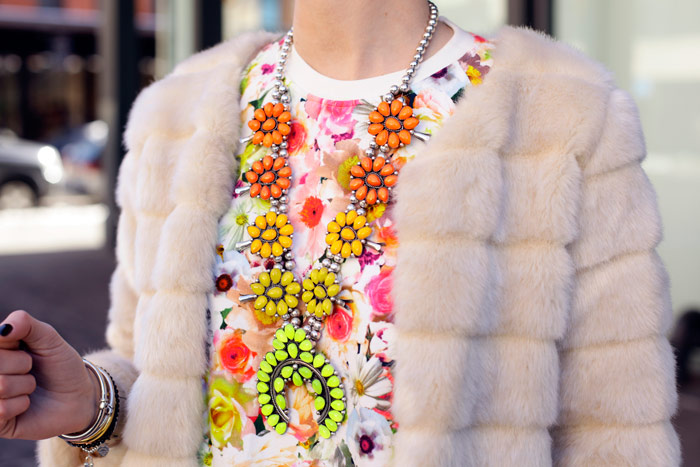 ombre squash blossoms necklace