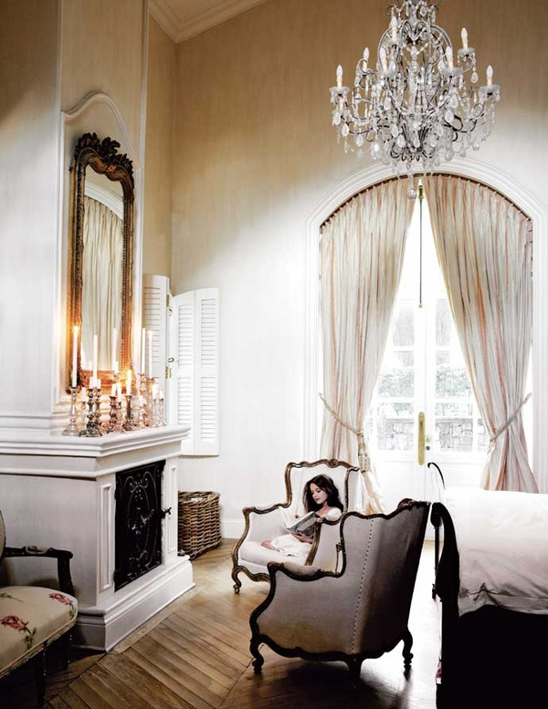 French-Inspired Johannesburg Farmhouse bedroom fireplace