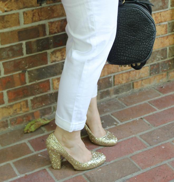 Lexi Old Navy white denim boyfriend jeans glitter gold heels _ glitterinc.com