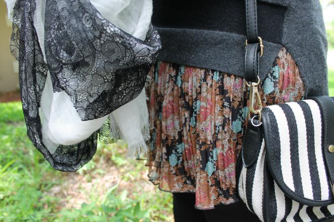 TJ Maxx mixing prints floral skirt sweater stripe purse lace scarf _ glitterinc.com