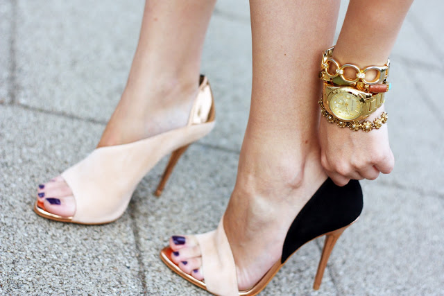 Zara laminated heel sandals nude black