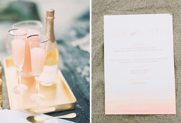 ashley kelemen beachshoot-pink-beach-wedding-cocktail-gold-tray
