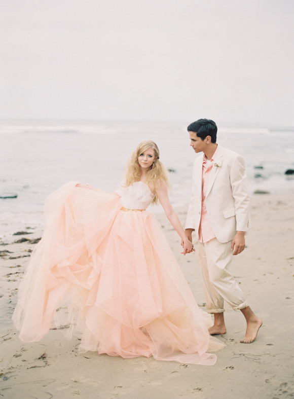 ashley kelemen beachshoot-pink-beach-wedding-dress