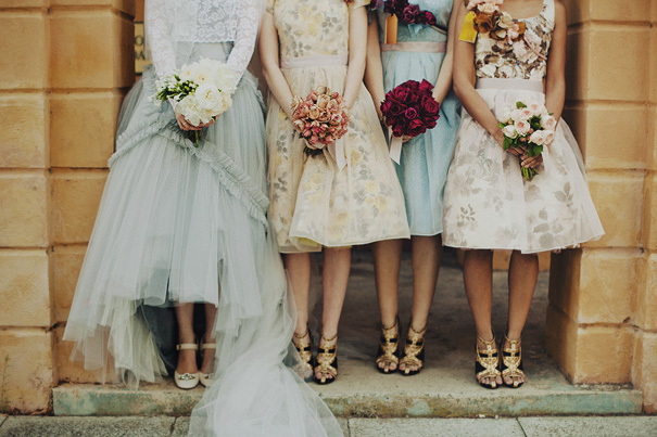 blue lace tulle wedding dress and vintage floral bridesmaid dresses gold shoes